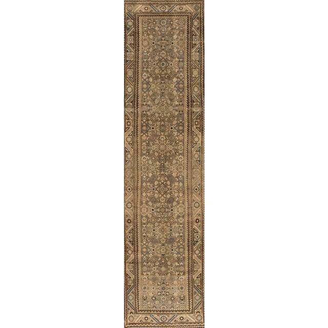 "Apadana - Vintage 1940s Tan/Beige Persian Malayer Carpet, 3'5"" x 14' For Sale - Image 4 of 4"