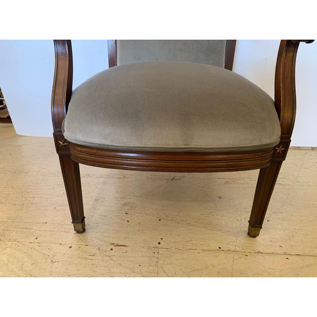 Late 19th Century 19th Century Mahogany Neoclassical Regency Style Arm Chair With Stars For Sale - Image 5 of 13