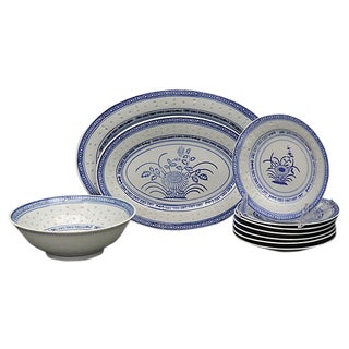 Chinese Blue Rice Serving Set - 10Pcs For Sale