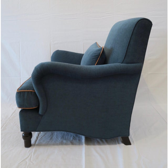Custom Upholstered Teal Blue Armchair - Image 3 of 7