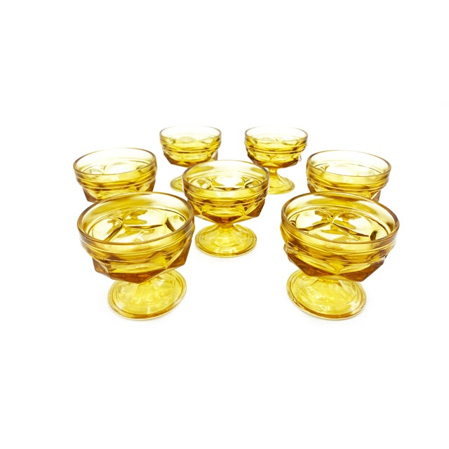 Mid-Century Imperial Glass Amber Glass Goblets - Set of 7 For Sale - Image 4 of 4