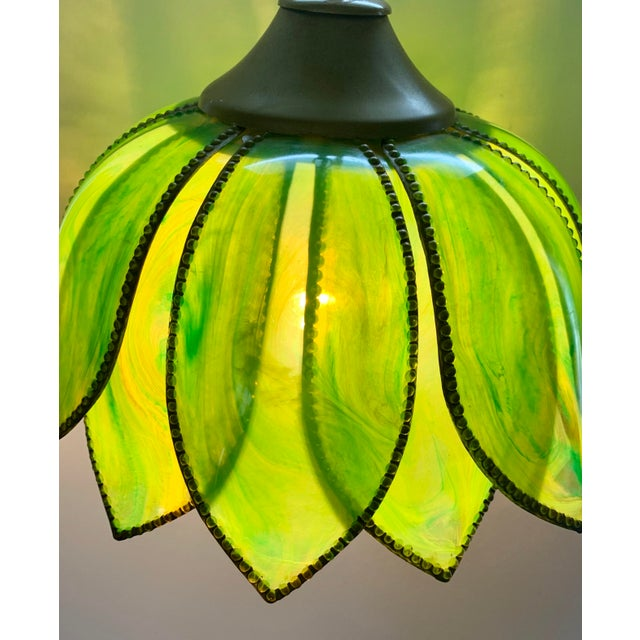 Mid-Century Modern Boho Lotus Flower Swag Lamp Vintage 1960s For Sale - Image 3 of 7