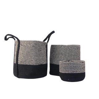Pasargad Dark Charcoal Cotton Nested Baskets - Set of 3 For Sale