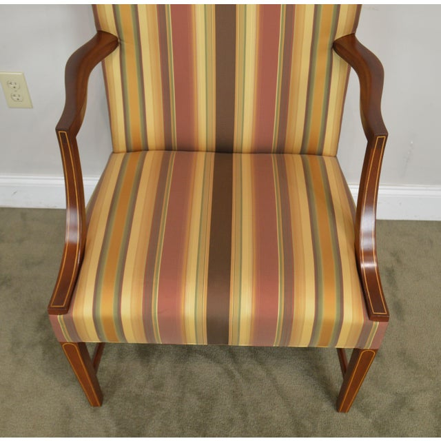 Brown Stickley Colonial Williamsburg Collection Mahogany Martha Washington Lolling Arm Chair For Sale - Image 8 of 13