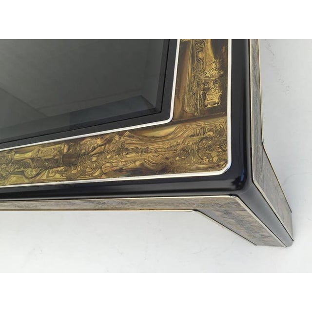 Boho Chic 1970s Mid-Century Modern Bernhard Rohne for Mastercraft Acid Etched Brass Coffee Table For Sale - Image 3 of 8