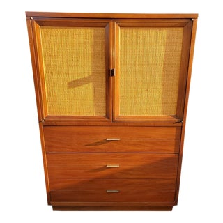 Vintage Lane Furniture Gentleman's Chest With Reversible Cane Doors For Sale