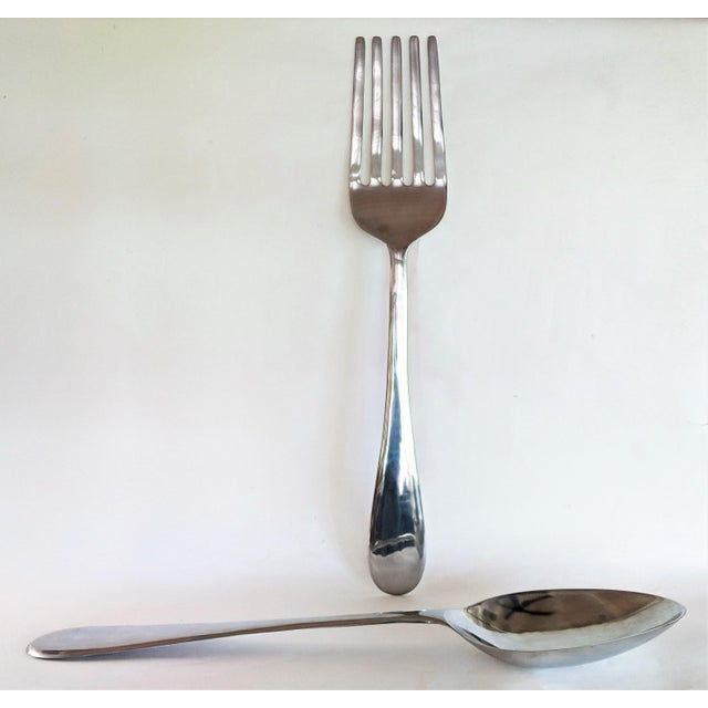 Silver 1970s Vintage C Jere Style Oversize Fork and Spoon Sculptures - 2 Pieces For Sale - Image 8 of 11