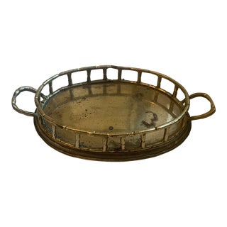 Vintage Brass Bamboo Tray For Sale