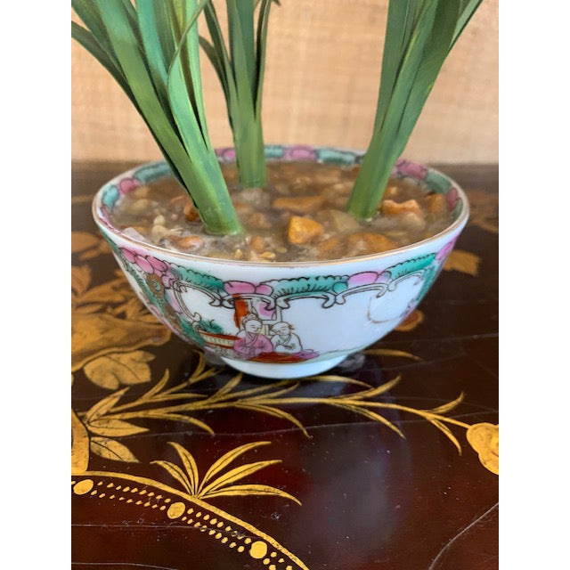 Chinoiserie Tole Potted Flowers in Famille Rose Bowl For Sale - Image 3 of 10