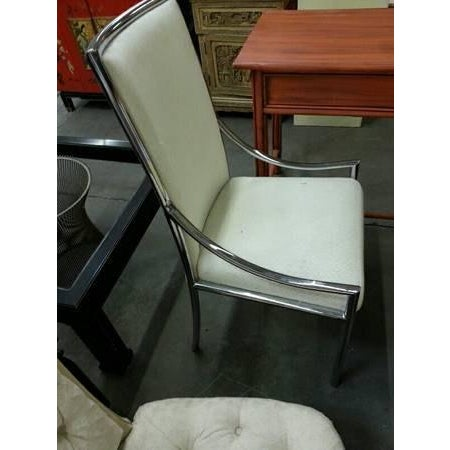 1960s Hollywood Regency Milo Baughman Chrome & Upholstered High Back Chair For Sale In Los Angeles - Image 6 of 6