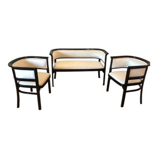 Art Deco Black Lacquer and Ivory Velvet Settee & Chairs - Set of 3 For Sale