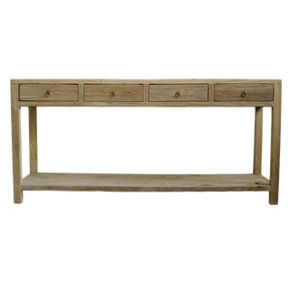 Raw Elm 4 Drawer Console Table For Sale