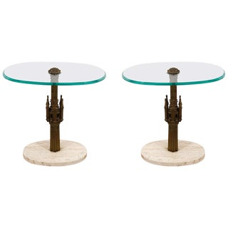 Pair Midcentury Italian Brass Glass and Marble Side Tables For Sale