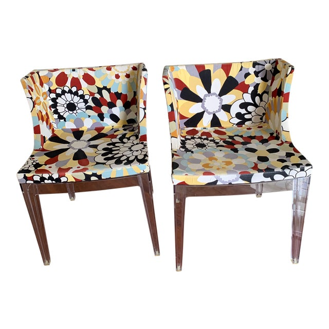 Kartell Phillipe Starck Missoni Fabric Mademoiselle Chairs - a Pair For Sale