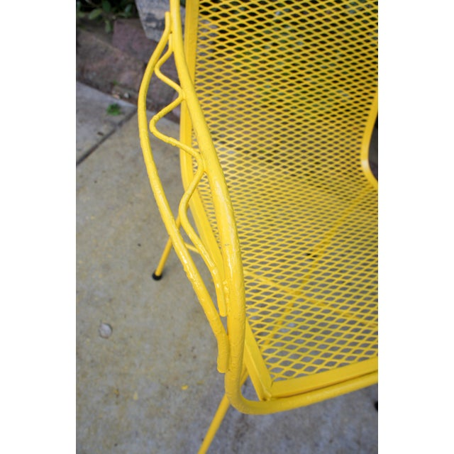 Yellow Mid Century Modern Buttercup Yellow Wrought Iron Patio Dining Set- 6 Pieces For Sale - Image 8 of 13