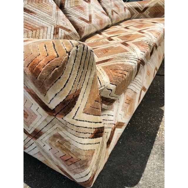 Milo Baughman 1970s Tuxedo Sofa With Jack Lenor Larsen Style Fabric For Sale - Image 4 of 11