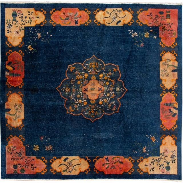 Early 20th Century Antique Art Deco Chinese Square Wool Rug 13 X 12 For Sale - Image 13 of 13