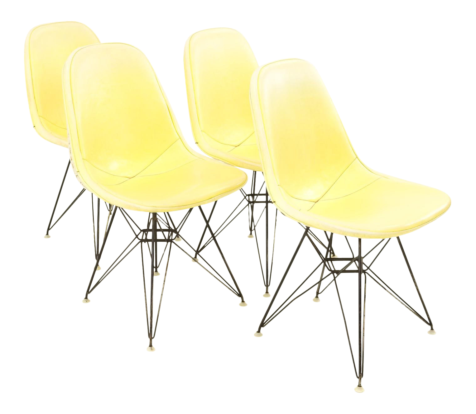 Early Charles And Ray Eames For Herman Miller Eiffel Base Wire Chairs With  Yellow Pads