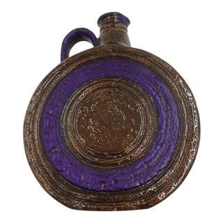 Vintage Mid-Century Aldo Londi for Bitossi Italian Brown and Purple Flagon Jug For Sale