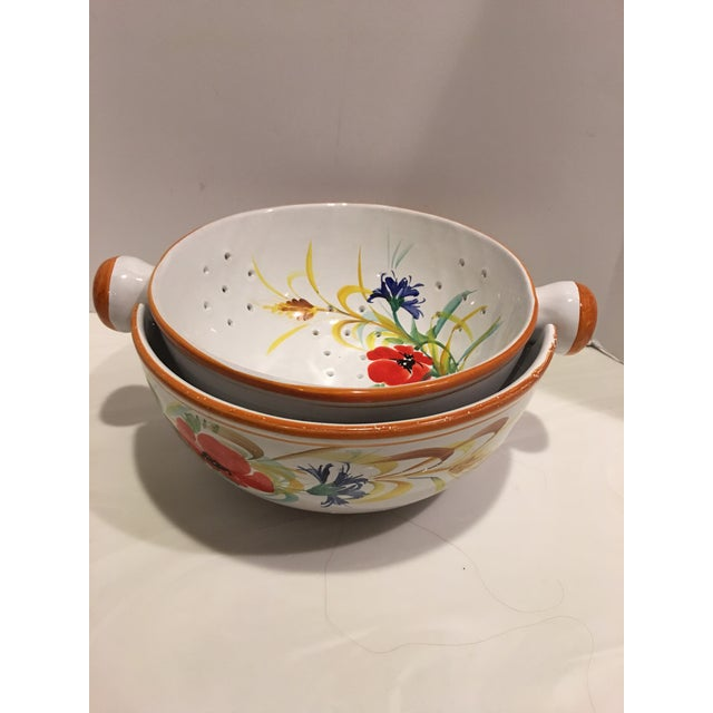 Italian Hand Painted Pasta Bowl & Colander - a Pair For Sale In Detroit - Image 6 of 9