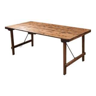 French Early 20th Century Pine Folding Table With Numismatic Top For Sale