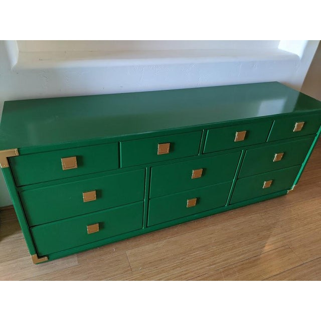 Campaign 1970s Thomasville Campaign Gloss Green Dresser Credenza For Sale - Image 3 of 9