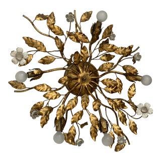 Vintage Italian Gilt White Tole Foliage Flush Mount Ceiling Lamp 5 Arms For Sale