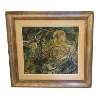 1971 Vintage Italian Framed Painting For Sale