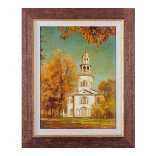 """The First Church of Old Bennington, Vermont"" Oil Painting by Dean Fausett For Sale"