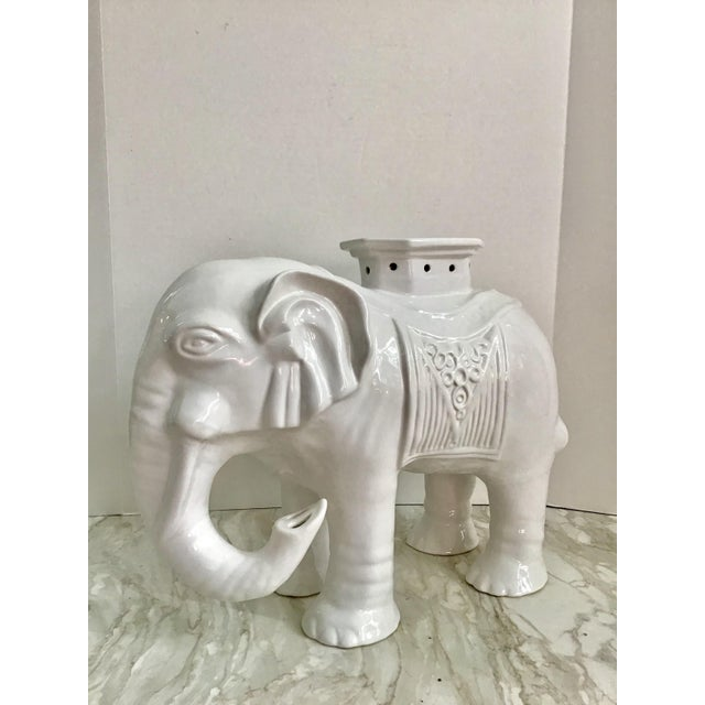 Vintage Chinoiserie Blanc De Chine Elephant Garden Stool For Sale - Image 9 of 9