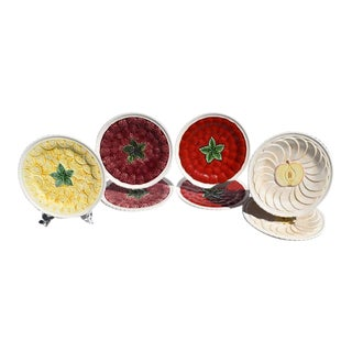 Ceramic Majolica Decorative Round Fruit Plates - Set of 7 For Sale