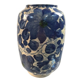 Vintage Mexican Blue and White Pottery Vase For Sale