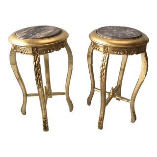 Gilded Marble Top Side Tables - A Pair For Sale