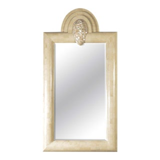 Exceptional Mid-Century Tessellated Limestone Mirror with Mother-of-Pearl Accent For Sale