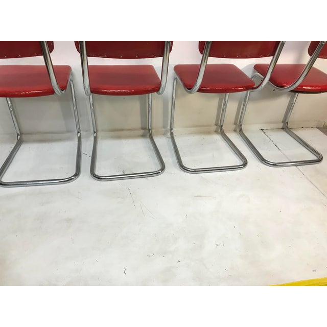 Mid Century Tubular Chrome Red Lloyd Cavalier Dining Chairs - Set of 4 For Sale In Sacramento - Image 6 of 8