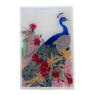 Peacock Paradise by Allison Cosmos Tray For Sale