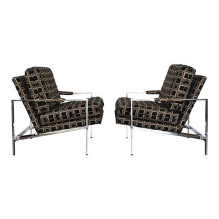 Milo Baughman Chrome Frame Lounge Chairs - A Pair For Sale