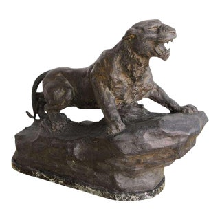 French Art Deco Bronze Panther Sculpture