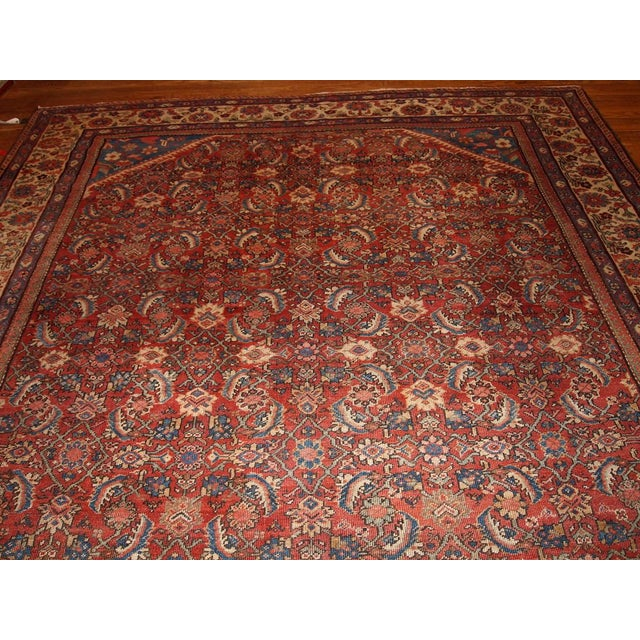 "Antique Persian Handmade Mahal Rug - 8'9"" X 11'7"" For Sale - Image 7 of 10"