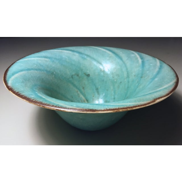 Vintage Aqua Hand-Made Art Pottery Bowl - Image 7 of 7