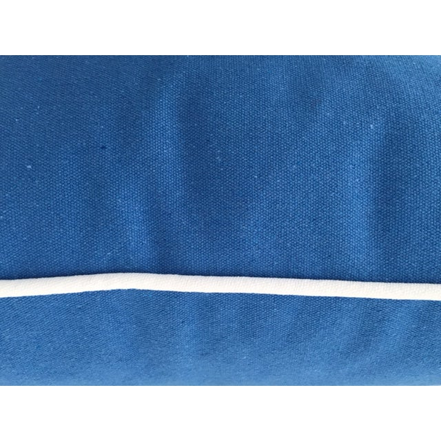 """Paradise Collection Blue Pillow Cover . With Zipper . White Contrast Welt . 22"""" X 22"""" - Image 3 of 8"""