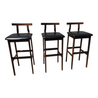 Mid Century Danish K/S Teak Bar Stools- Set of 3 For Sale