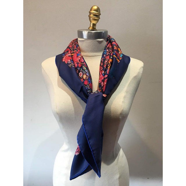 Boho Chic Hermes Legende Moghole Silk Scarf in Navy Blue For Sale - Image 3 of 7
