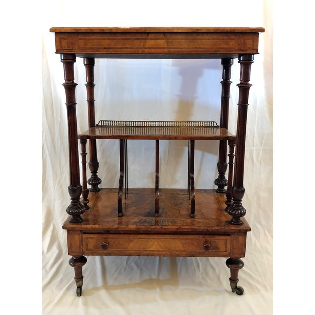 English Antique English Walnut Canterbury and Music Stand, Circa 1870-1880. For Sale - Image 3 of 7