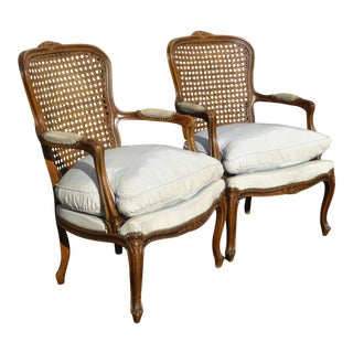Vintage French Provincial Blue Cane & Down Bergere Chairs - a Pair For Sale