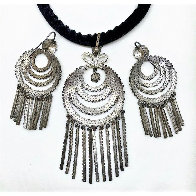 Early 19th Century 1800s Georgian Cut Steel Pendant and Dangling Earrings For Sale - Image 5 of 7