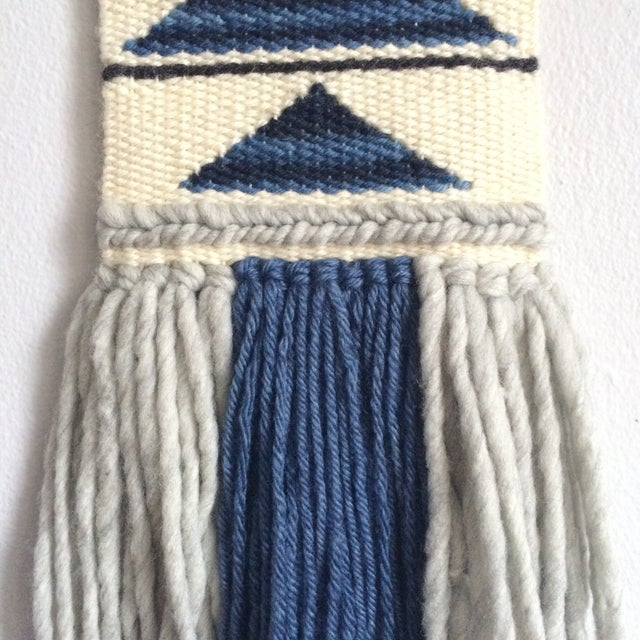 Mini Woven Wall Hanging Blue Geometric Triangle - Image 4 of 4