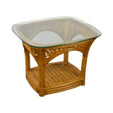 Image of Crate & Barrel Glass Top Rattan Side Table For Sale