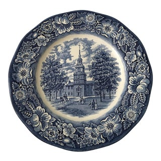 Staffordshire Liberty Blue Independence Hall Dinner Plate For Sale