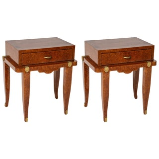 Art Deco Bedside Tables in Amboyna, Mother-Of-Pearl and Bronze Doré - a Pair For Sale
